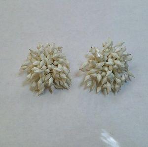 Vintage pompom clip on earrings